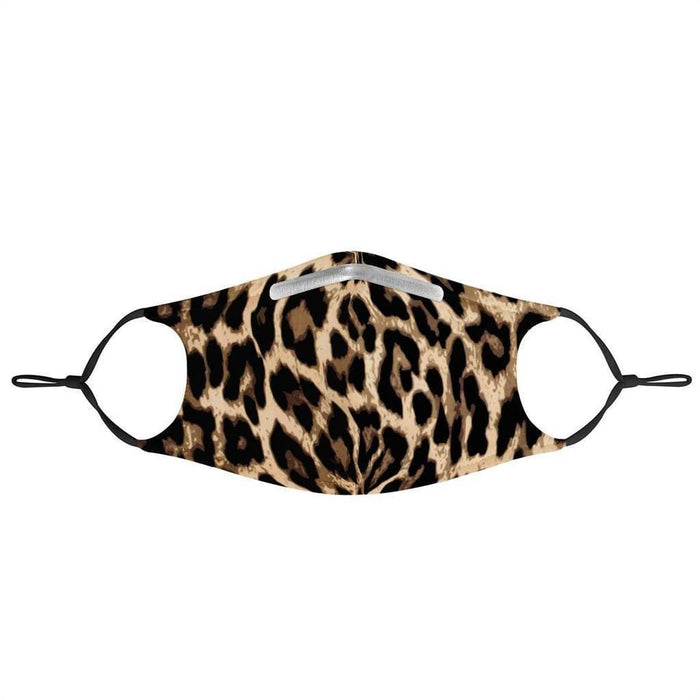 front view of a leopard fashion face mask with ear straps
