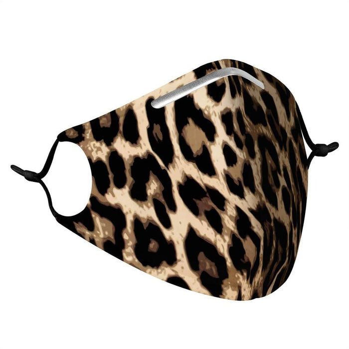 side profile of a unisex fashion face mask with ear straps in a leopard print