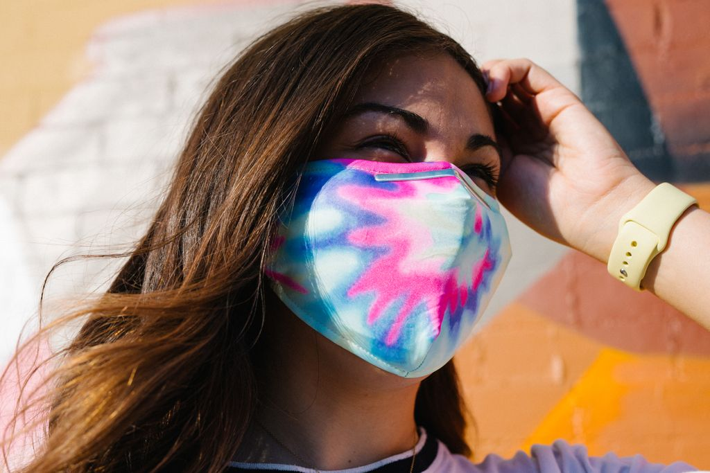Tie Dye Candy Fabric Face Covering with Four PM 2.5 Carbon Filters