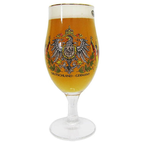 Pilsner Tulip German Beer Glass with Eagle and German Flag. Filled with Beer