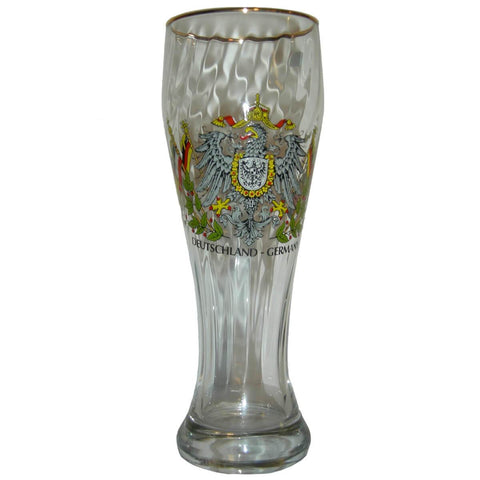 German Wheat Beer Glass with Eagle and Flags