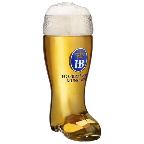 A one Liter Glass Boot with the typical blue Hofbräuhaus Logo in the front Center and the words Hofbräuhaus München underneath. This Beer Boot is filled with a nice cold Beer and has a perfect Foam crown.