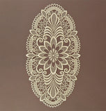 Lace Table Linen - Ecru with Flower Motif Design - Oval, Large