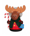 Christian Ulbricht Wooden Wobble Figure - Moose with Candy Cane