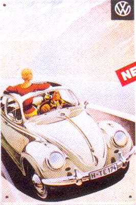 VW Beetle with Sunroof – Vintage Style Metal Advertising Sign