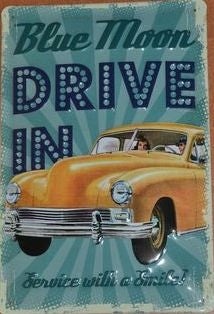 Blue Moon Drive In - Vintage Style Metal Advertising Sign