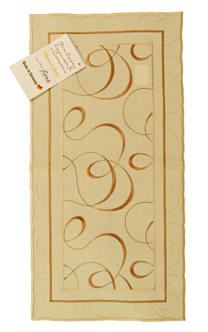 Linen Table Runner – Champagne with Gold Embroidered Swirling Design