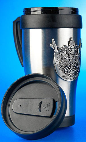 Silver Travel Mug with Metal German Crest