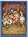 Baby sleeping between cute little Baby Animals in Anri Juan Ferrandiz Collectibles Painting in blue Frame