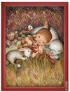 Baby sleeping between cute little Baby Animals in Anri Juan Ferrandiz Collectibles Painting in red Frame