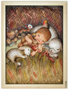 Baby sleeping between cute little Baby Animals in Anri Juan Ferrandiz Collectibles Painting in white Frame
