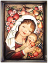 Mary holding Baby Jesus between sweet Fruits in Anri Juan Ferrandiz Collectibles Painting in brown Frame