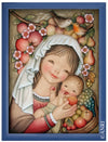 Mary holding Baby Jesus between sweet Fruits in Anri Juan Ferrandiz Collectibles Painting in blue Frame