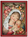 Mary holding Baby Jesus between sweet Fruits in Anri Juan Ferrandiz Collectibles Painting in red Frame