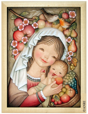 Mary holding Baby Jesus between sweet Fruits in Anri Juan Ferrandiz Collectibles Painting in white Frame