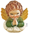 ANRI - Ferràndiz smiling cherub praying in green dress on cloud
