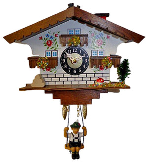 Bavarian Boy swinging on a Chalet Engstler Miniature Black Forest Cuckoo Clock with moving Chimney Sweep on Top