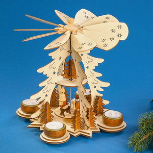 Christmas Pyramid - Holy Family Nativity Scene w/ Tea Lights