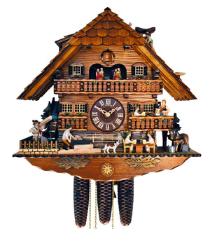 Bavarian Men working as Loggers and others Drinking Beer served by a Waitress on a Schneider Cuckoo Clock