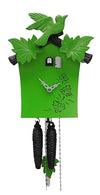 Cuckoo Clock - 1-Day Green Modern with Bird & Leaf Motif - Romba