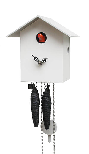 Cuckoo Clock - 1-Day Bird House Modern Clock in White - Romba