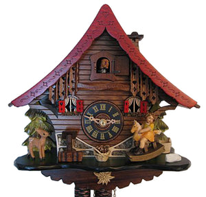 Fawn watching little Girl on Rocking Horse on Engstler Chalet Black Forest Cuckoo Clock with Edelweiss