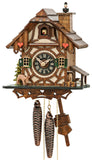 Chimney Sweep popping in and out of the Chimney and Deer on Engstler Chalet Black Forest Cuckoo Clock