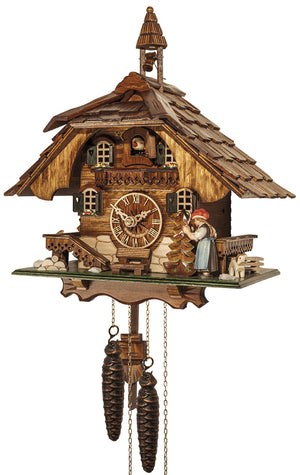 Dog standing next to a Black Forest Woman ringing the Bell on Engstler Chalet Black Forest Cuckoo Clock