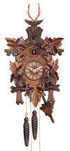 Five Ivy Leaves frame a Traditional Engstler Cuckoo Clock with two Squirrels and a Stag Head with Antlers