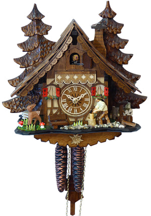 Bavarian Man chopping Wood on an Engstler Chalet Black Forest Cuckoo Clock with a Bench and a Fawn