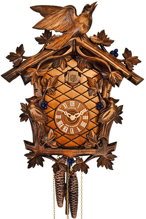 Traditional Schneider Cuckoo Clock with painted Blueberries, and carved Birds amongst ivy leaves
