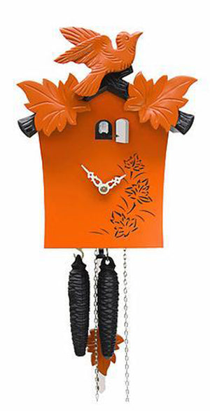 Cuckoo Clock - 1-Day Orange Modern with Bird & Leaf Motif - Romba