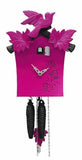 Cuckoo Clock - 1-Day Pink Modern with Bird & Leaf Motif - Romba