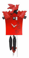 Cuckoo Clock - 1-Day Red Modern with Bird & Leaf Motif - Romba