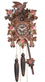 Hand Painted Alpen Rose, and a carved Bird on Top of an Engstler Traditional Black Forest Cuckoo Clock