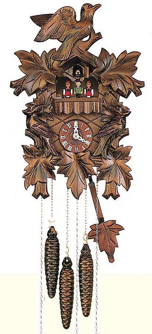 Three intricate carved Birds between Ivy Leaves on a Schneider Traditional Black Forest Cuckoo Clock