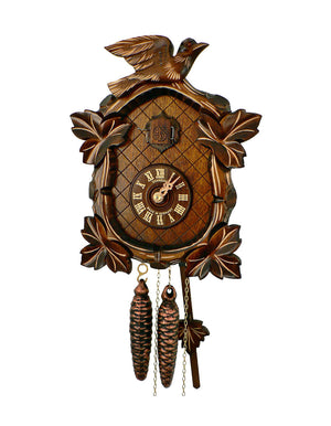 A Schneider Traditional Black Forest Cuckoo Clock with four Grape Leaves and an ornate carved Bird