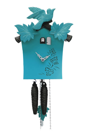 Cuckoo Clock - 1-Day Turquoise Modern with Bird & Leaf Motif - Romba