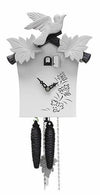 Cuckoo Clock - 1-Day White Modern with Bird & Leaf Motif - Romba