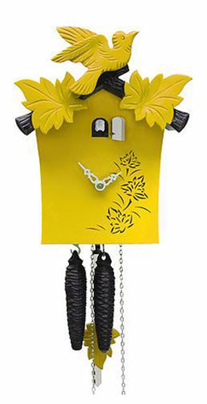 Cuckoo Clock - 1-Day Yellow Modern with Bird & Leaf Motif - Romba