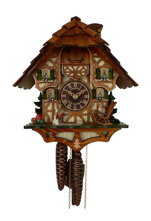 Girl facing a Rocking Chair is feeding Geese next to two Ducks on a Schneider Black Forest Cuckoo Clock