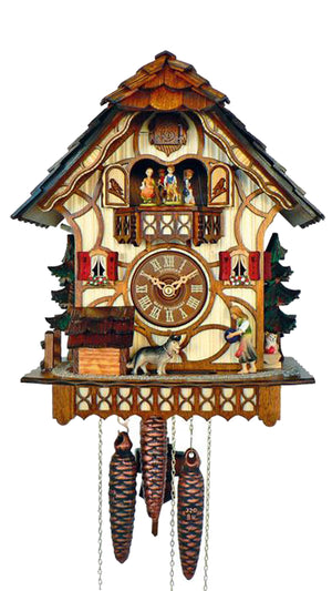 Half Timbered Schneider Cuckoo Clock with a girl and a German Shepherd playing Ball watched by a cat