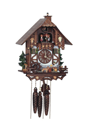 Man drinking Beer, a dog, and a Chimney Sweeper jumping out of the Chimney on a Schneider Cuckoo Clock