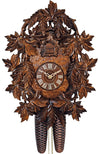 A Schneider Black Forest Cuckoo Clock with intricately Carved Leaves finished with a dark stain