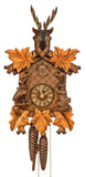 Schneider Cuckoo Clock with a Bird, a Rabbit, yellow Leaves next to the clock face and a Deer on Top
