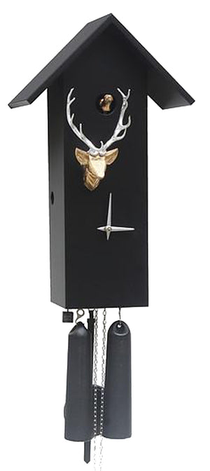 Cuckoo Clock - 8-Day Tall Modern Black Clock with Stag Head - Romba