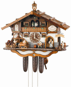 Schneider Chalet Cuckoo Clock with Beer wagon delivering Beer and Waitress bringing Beer to Customers