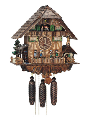 Schneider Chalet Cuckoo Clock with an Oompah Band playing music, a Bell Ringer, and a Water Wheel