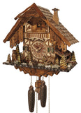 Two Bears in front of a Hunting Chalet with Stag Heads on Facade on an Engstler Black Forest cuckoo Clock