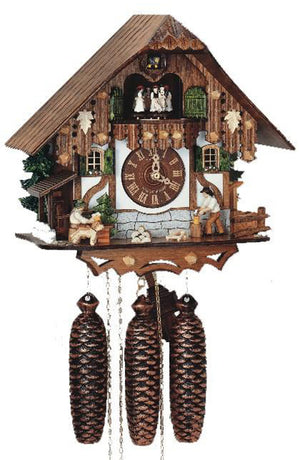 Man chopping Wood while a Dog is watching another Man drinking Beer on an Anton Schneider Cuckoo Clock